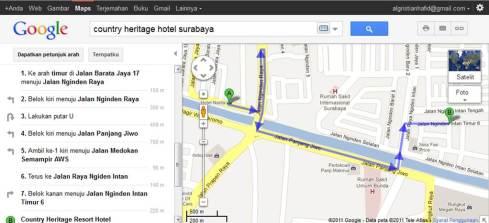 country heritage hotel surabaya_map